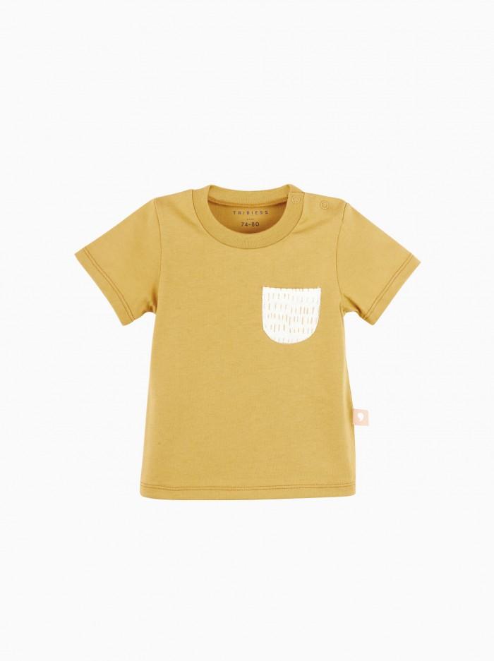 camiseta manga corta con bolsillo · mostaza