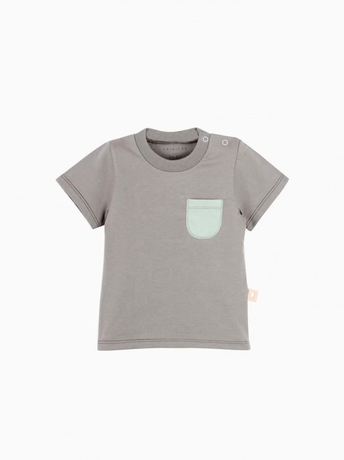 camiseta manga corta con bolsillo · gris