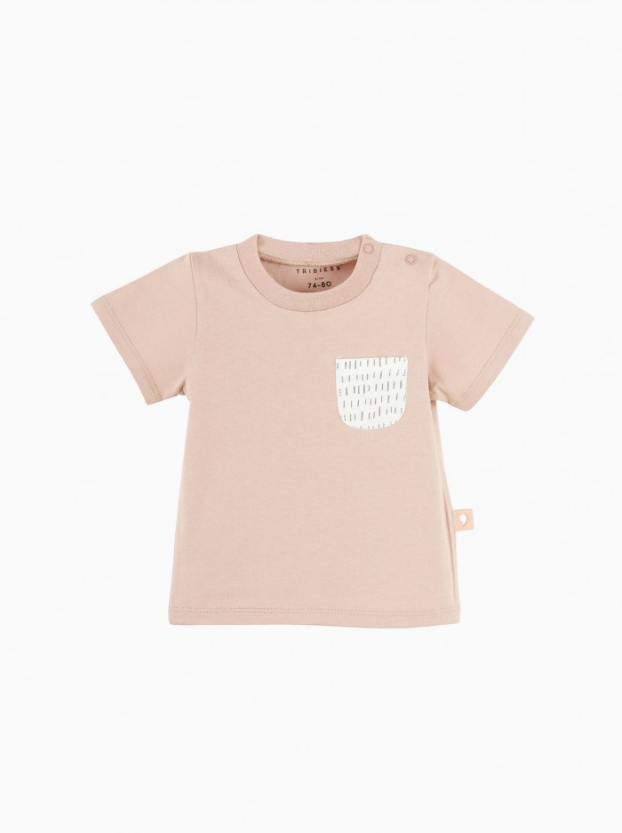 short sleeved t-shirt with pocket · misty rose