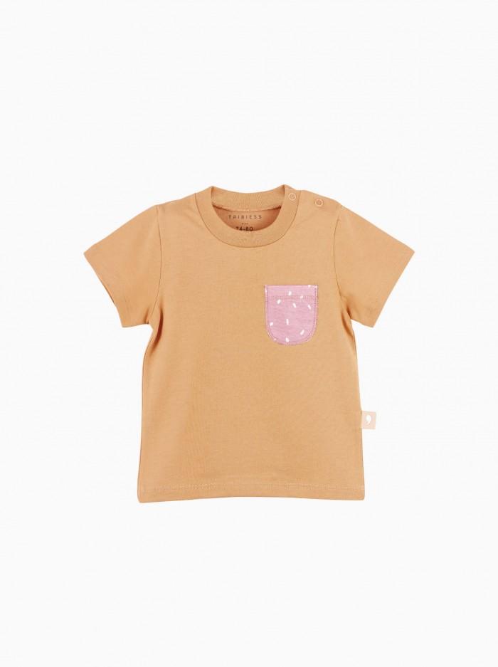 camiseta manga corta con bolsillo · terracota