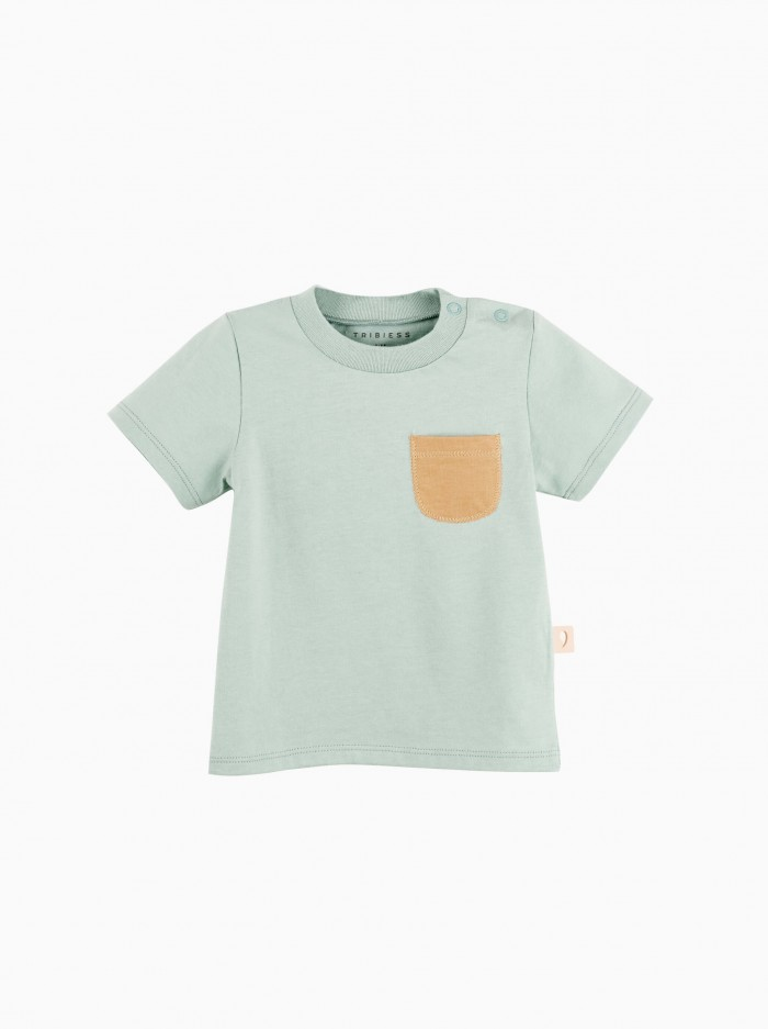 short sleeved t-shirt with pocket · green surf