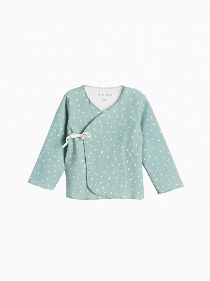 baby kimono shirt · minty dots